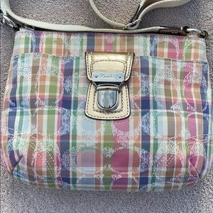 Coach poppy smpurse pink plaid sequins sling bag